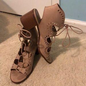 Suede Strappy Heeled Sandals